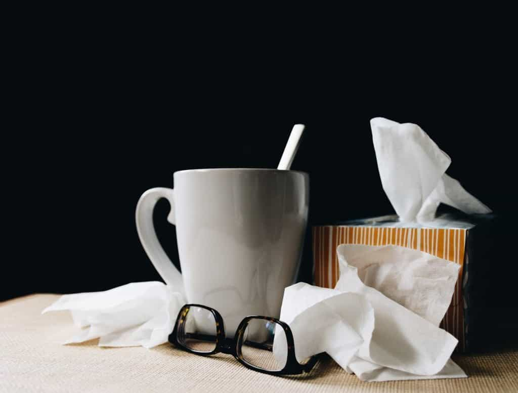 type 1 diabetes - tissues, glasses and cup for a sick person
